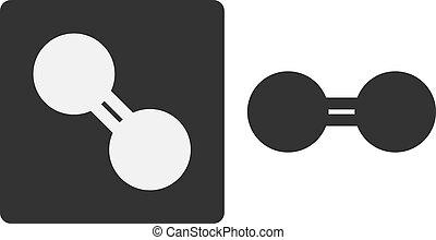 oxygen (O2) molecule, flat icon style.