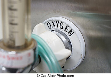 Oxygen supply - oxygen supply on the wall with focus on the...