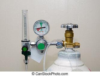 Oxygen Tank and Regulator Gauges.