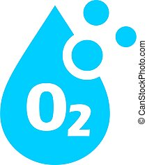 Oxygen vector icon with water drop