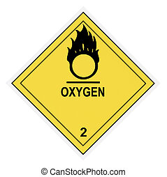 United States Department of Transportation oxygen warning label isolated on white