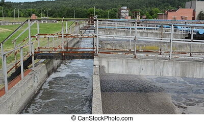 oxygenation basin pool wastewater of old sewage cleanment plant.