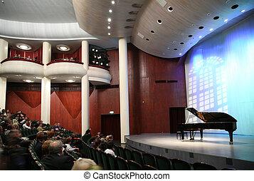 oyentes, en, el, sala de conciertos