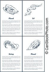 Oyster and Eel Seafood Set Vector Illustration - Oyster and...