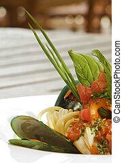 Oyster and sea food spaghetti