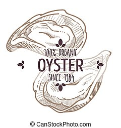 Oyster food, organic dishes and ingredients isolated label with text and year. Cooking or eating luxurious meal in restaurant, icon for menu or shop. Monochrome sketch outline vector in flat style
