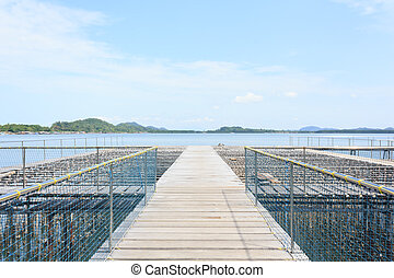 Oyster Farm in the sea