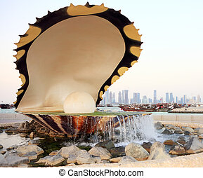 Oyster fountain in Doha Qatar - The old oyster and pearl...