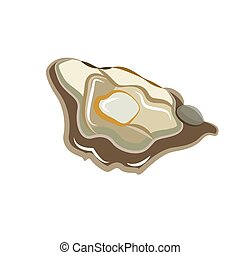 Oyster. Isolated on white background. Vector flat color icon