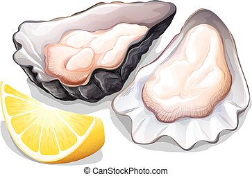 Oyster - Raw oyster in shell with slice of lemon