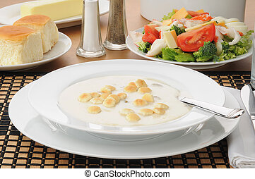 Oyster stew with crab salad