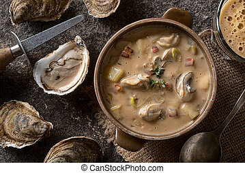 Oyster Stout Stew - Homemade oyster stew with stout beer,...