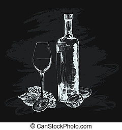 Oyster, wine and glass. Hand drawn graphic illustration