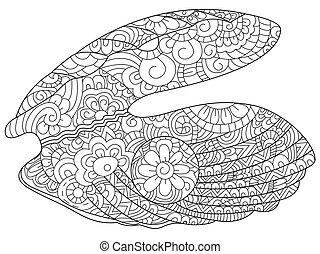 Oyster with pearl Coloring book vector for adults - Oyster...