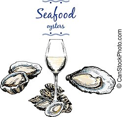 Oysters and wine glass. Hand drawn illustration