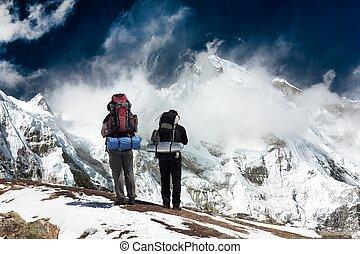 oyu, nepal, -, cho, khumbu, valle, trekker