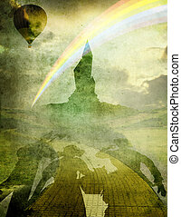oz 1 balloon and rainbow - emerald city with balloon and...