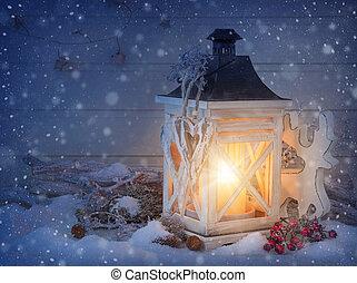 ozdoba, boże narodzenie, płonący, latarnia