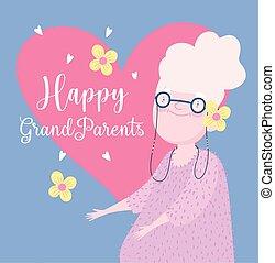 ozdoba, dzień, sprytny, karta, dziadkowie, kwiaty, babunia, rysunek, serca, szczęśliwy