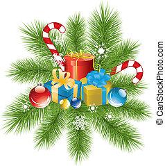 ozdoba, futro, drzewo, dary, gałąź, boże narodzenie