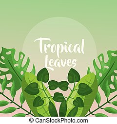ozdoba, gałęzie, liście, tropikalny, zielony, dłoń