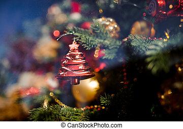 ozdoba, kształt, drzewo, boże narodzenie, szkło, zabawka, czerwony, jodła