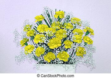 ozdoba, kwiaty, żółty