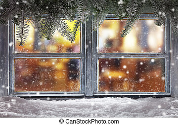 ozdoba, próg, boże narodzenie, atmosferyczny, okno