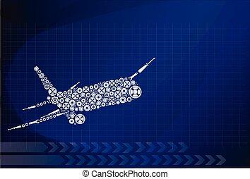 ozdoba, samolot, robiony, przybory, wektor