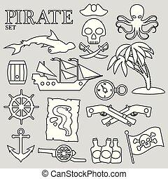 ozdoba, set., druk, albo, pirat, advertising., projektować, kontur