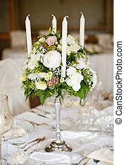 ozdoba, stół, ślub