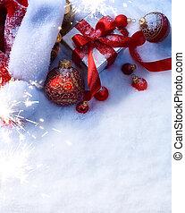 ozdoba, tło, sztuka, śnieg, gwiazdkowy dar, boks, czerwony