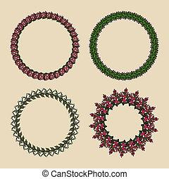 ozdoba, tło., wektor, zielony, handdrawn, wreaths., botaniczny, okrągły