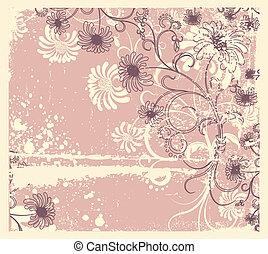 ozdoba, wektor, .vintage, tło, kwiatowy, kwiaty