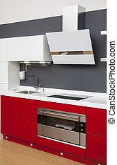 ozdoba, wewnętrzny, nowoczesny, czerwony, kuchnia