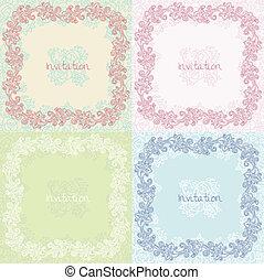 ozdobený, květinový, pozvání, karta, dát