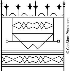 ozdobný, žehlička, design, tepaný, branka