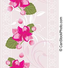ozdobný, grafické pozadí, s, květiny
