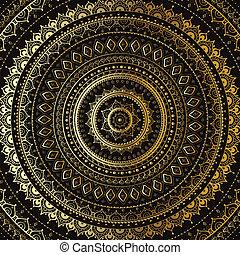 ozdobný, mandala., indián, pattern., zlatý