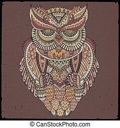 ozdobný, ozdobný, vektor, owl., ilustrace