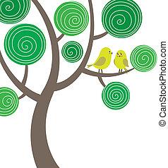 ozdobný, ptáci, strom, dva, komponování