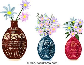 ozdobný váza, s, květiny