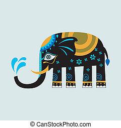 ozdobny, czarnoskóry, słoń