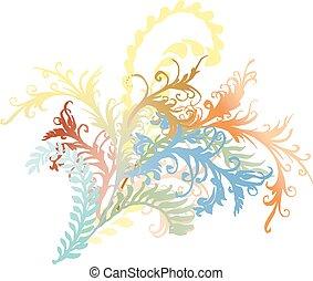 ozdobny, kędzierzawy, kwiat, winorośle, &, liście