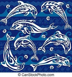 ozdobny, komplet, delfin
