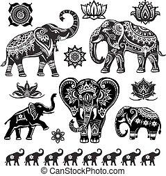 ozdobny, komplet, słonie