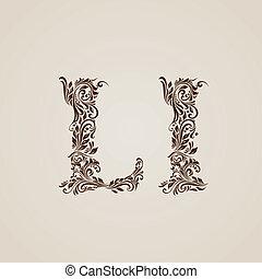 ozdobny, l, litera