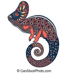 ozdobny, wektor, barwny, ilustracja, kameleon