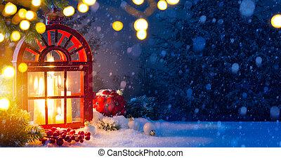 ozdoby, drzewo, śnieg, tło, boże narodzenie