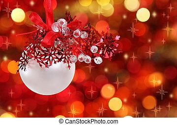ozdoby, drzewo, boże narodzenie, czerwony biel